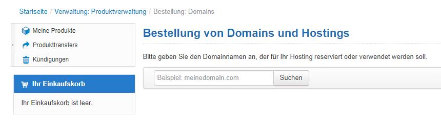 Domain aussuchen