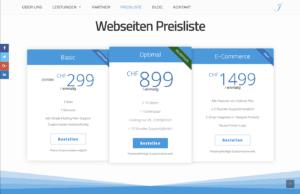 Webseiten Preisliste